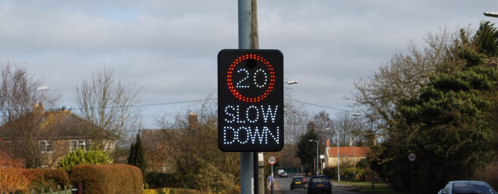 Slow down - warning sign Norfolk